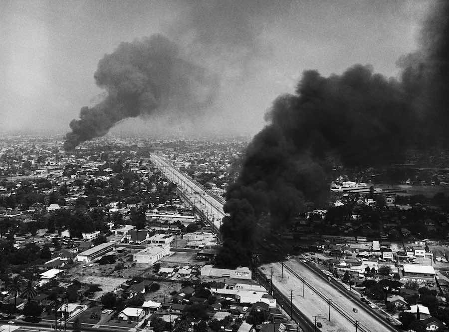 Aerial image of smoke rising from 1992 L.A. riots