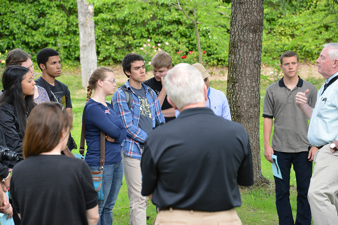 Fr. Robert Walsh, SJ speaks to students about St. Ignatius on the Campus Ministry Ignatian Pilgrimage in Spain, May 2014.