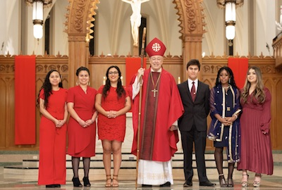 Students at confirmation ceremony